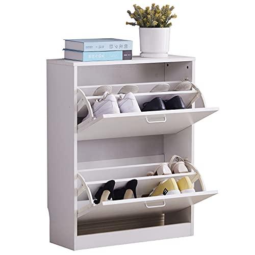 Mantimes Zapatero de madera de 2 niveles, organizador de zapatos, organizador de almacenamiento de zapatos, con 2 cajones, color blanco