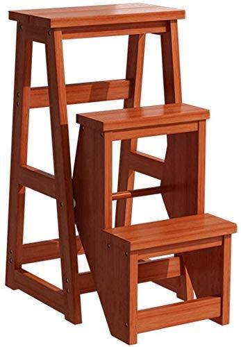 GUOXY 3-Tier Aus Holz Schritt Hocker Folding Trittleiter Tragbarer Schlafzimmer Step Mehrzweckleiter Regal-Speicher-Regal Multifunktionales Badhocker Stairway Stühle Mit Platzsparender Holzbau,Brown