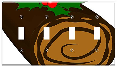 Switch Plate 4 Gang Toggle - Yule Log Cake Christmas Yule Log Chocolate