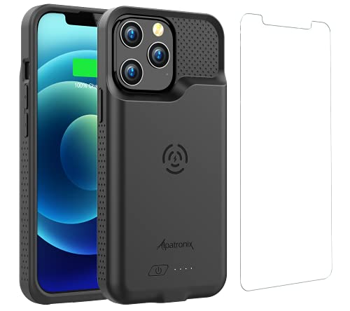 Battery Case for iPhone 13 Pro Max (6.7 inch), 6500mAh Slim Portable Protective Extended Charger Cover with Wireless Charging Compatible with Lightning Input (BX13 Pro Max) - Black
