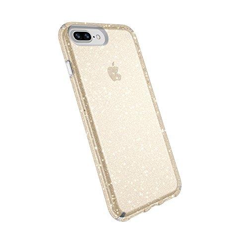 Speck Products Presidio - Carcasa Transparente para iPhone 8 Plus, con Purpurina Dorada, Transparente