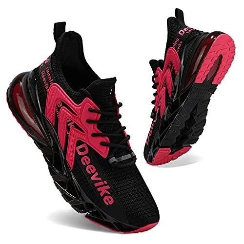 Deevike Laufschuhe Damen Wanderschuhe Damen Sneaker Sportschuhe Straßenlaufschuhe Fitness Tennisschuhe Schwarz Rosa-41