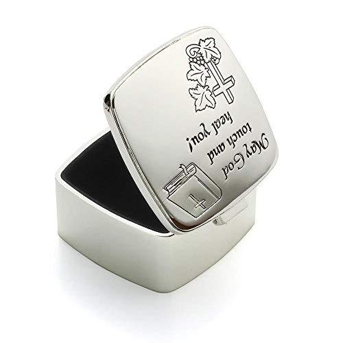 FSQY Personalisierte Silber-Überzogene Bibel Vers Erste Kommunion Andenken Box, Kirche Verantwort Christian Schmuck Box