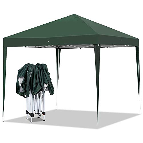 Yaheetech Outdoor Pop-Up Canopy Tent Portable Shade Instant Folding Canopy with Carry Bag 10 x 10 ft Base, 10 x 10 ft Canopy Dark Green