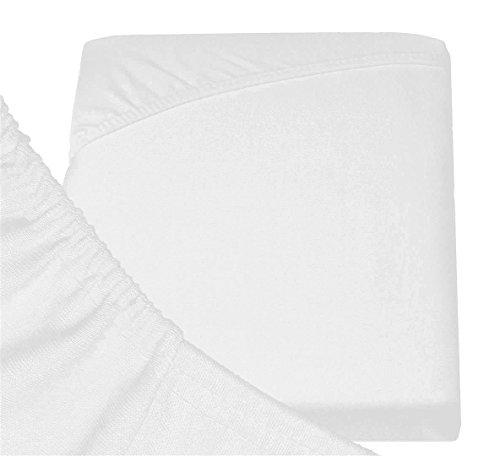 #3 Double Jersey Jersey Spannbettlaken, Spannbetttuch, Bettlaken, 160x200x30 cm, Weiß - 6