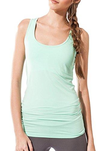 Sternitz Camiseta Fitness para Mujer, Maya Top, Ideal para Hacer Pilates, Yoga y Cualquier Deporte, Tela de bambú, ecológica y Suave. Sin Mangas. (L, Aquamarina)