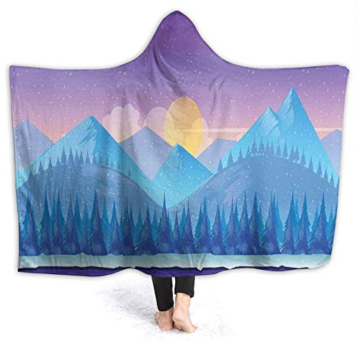 YOUMEISU Super Soft Hooded Blanket Throw,Mountain Cartoon Woodland Landscape Fir Trees At Sunset Kids Fairytale Purple Blue And Yellow,Warm Blankets Throw 150x200cm