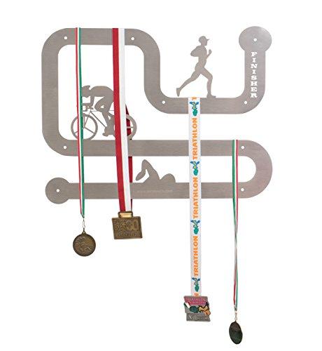 SWIMXWIN Medallero triatlón de acero de pared 50 x 40 cm