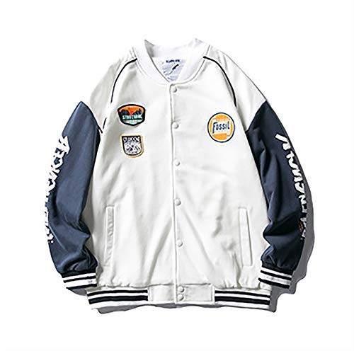 HSY SHOP Chaquetas de béisbol Unisex Abrigos Cazadora de Hip Hop Hombre Moda Coreana Chaquetas de Bombardero Universitario (Color : White, Size : S)