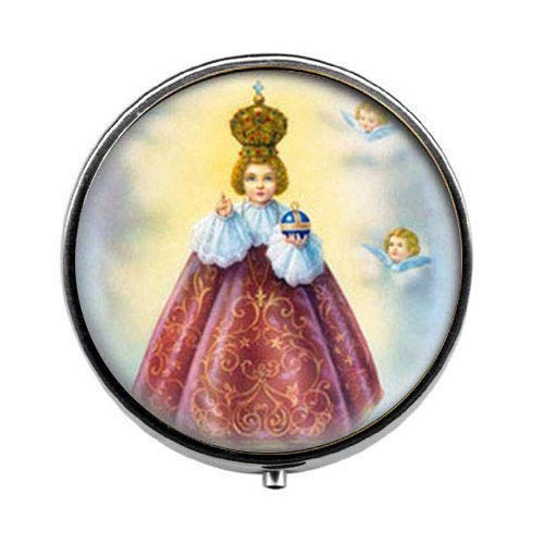 Scatola per pillole cattolica per neonati, Gesù di Praga. Medaglia cristiana cattolica. Charm Jewelry vetro foto gioielli