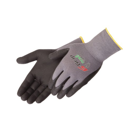 Liberty G-Grip Nitrile Micro-Foam Palm Coated Seamless Knit Glove with 13-Gauge Gray Nylon Shell, Large, Black (Pack of 12)