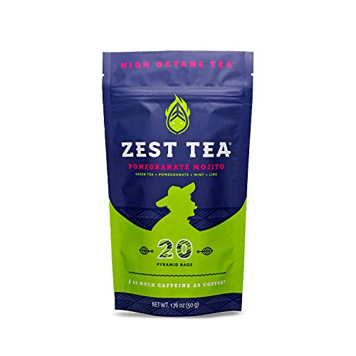 Zest Tea Energy Hot Tea, High Caffeine Blend Natural & Healthy Coffee Substitute, Perfect for Keto, 20 servings (135mg Caffeine each), Compostable Teabags (No Plastic), Pomegranate Mojito Green Tea