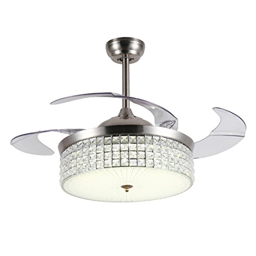 MOERUN 42 inch Crystal Ceiling Fan Modern LED Chandelier Lighting Invisible Silent Fan Remote Control for Living Room Bedroom