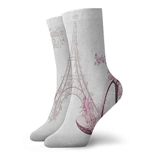 BEDKKJY Crew Sokken Cartoon Hoge Hakken Schoenen Parijs Eiffeltoren Koele Heren Jurk Stocking Decoratie Sok voor Jeugd