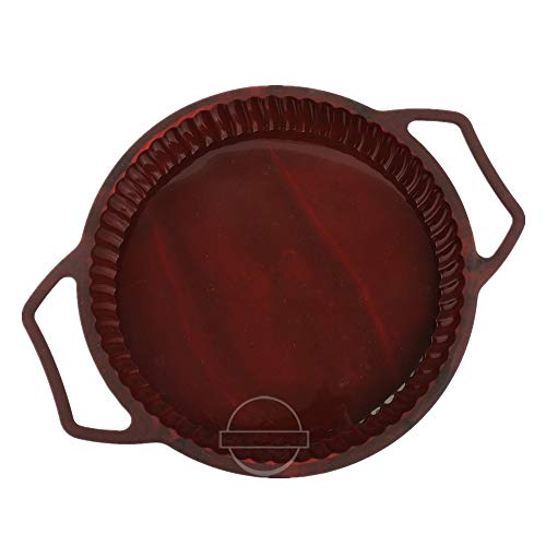 "KeepingcooX Non-Stick Fluted Flan Tin/Quiche Pan with Handles, Steel Frame to Anti-deformed, Pie Tart Pan Large Round, 26 cm (10"")"