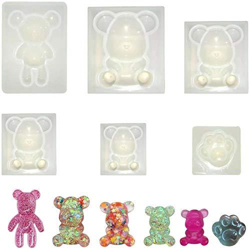 Moldes de silicona de resina epoxi, 5 piezas de oso de resina para moldear resina, set con 1 pieza de pata de oso, decoración de mesa de resina