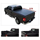 Riseking 5ft Bed Soft Lock & Roll-up Truck Bed Compatible with 05-2020 Nissan Frontier Crew Cab & 09-12 Suzuki Equator Pickup Black Vinyl Clamp-on Top Mount Tonneau Cover Assembly with Rails+Hardware