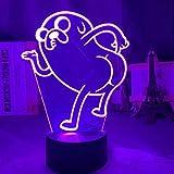 ADIS Lámpara de ilusión 3D Luz de Noche Led Noche de Aventura Hora de Aventura Jake el Perro Figura Plegable para la decoración de la habitación del niño Lámpara de Escritorio con Sensor táctil