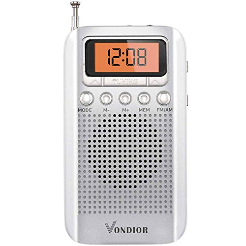 Portable Digital Radio AM FM - Best Reception and Longest Lasting. AM FM Compact Radio Player Operated by 2 AAA Battery, Stereo Headphone Pocket (Black, Blue), by Vondior (Silver)
