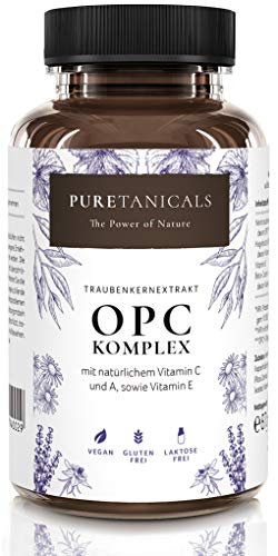 Capsule di Estratto di Semi D'uva OPC + Vitamina C, A naturale & E | Complesso Antiossidante ad alto Dosaggio Testato in Laboratorio | 530mg di Estratto di Vinacciolo puro | Vegan dalla Germania