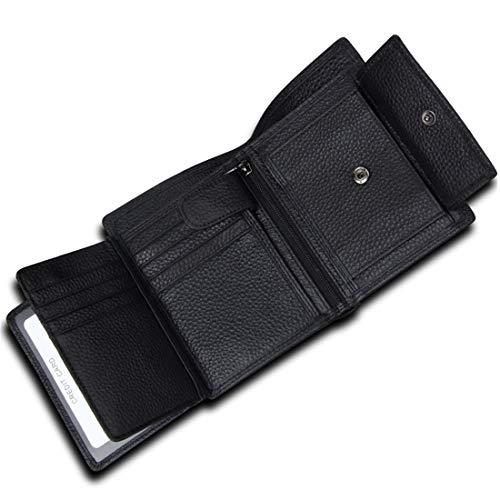 XUEE Mens portemonnee RFID blokkeren lederen heren portemonnees drievoudig credit card houder met muntzak, Zip Note compartimenten
