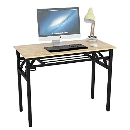 Folding Computer Desk Home Office Table Foldable Study Table for Students Writing Desk PC Laptop Gaming Workstation Furniture Set for Living Room Bedroom(Black&Oak with storage)