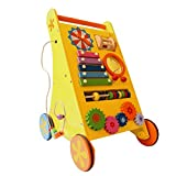 Shumee 8-in-1 Wooden Musical Activity Push Walker (1 Year+) - Build Hand-Eye Coordination with Xylophone, Grooves, Clock & Bead Maze