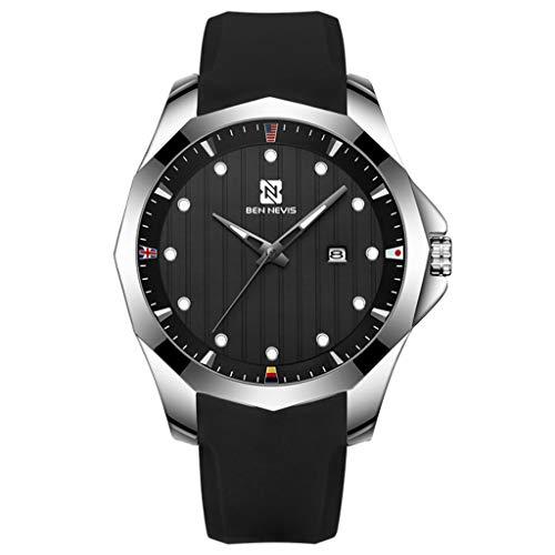 Gnaixyc Reloj Analógico para Hombre De Cuarzo con Correa En Silicona, Reloj Deportivo A Prueba De Agua Fashion 3ATM,Negro