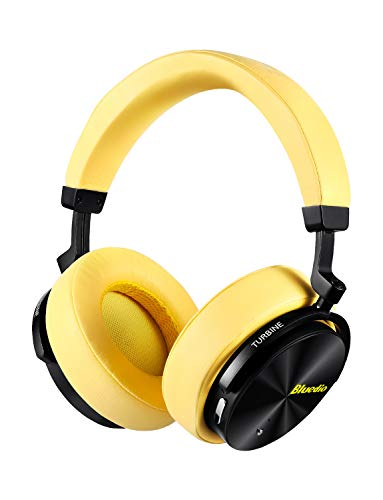 Bluedio T5 Active Noise Cancelling Headphones Over Ear Wireless Bluetooth Headphones with Mic Portable Stereo Headsets for Cell Phones Travel Work (Yellow)