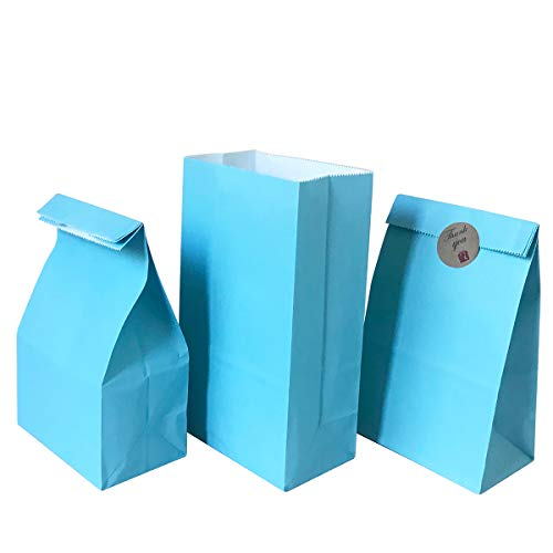 Party favor Bag 50 pcs Food Safe Kraft Paper and Ink, Natural (Biodegradable), Vivid Colored Candy Cookie Buffet Bags, Bottom Square Bag.with 48 pcs Thank You Stickers 1.5 inch. (Turquoise Blue Color)