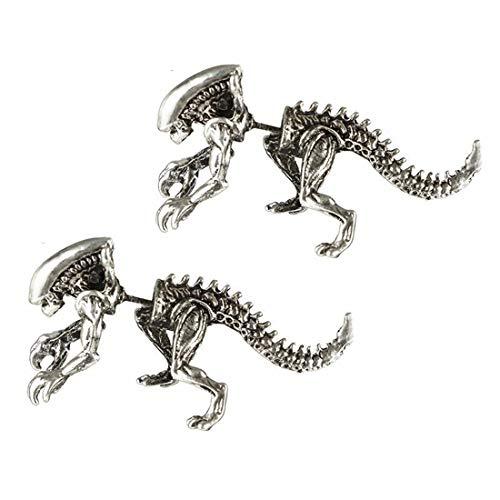 BoMiVa Pendientes Europa y américa estereoscópica 3D Alien Dinosaurio Pendiente Pendientes de Hueso Pendiente de punción Mujer
