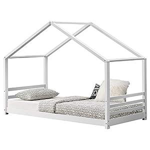 [en.casa] Children´s Bed House Form 200x90cm Pinewood Plywood White