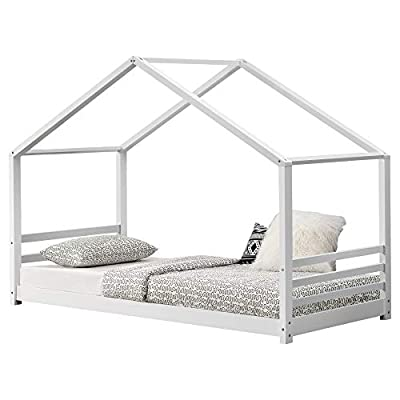 [en.casa] Children´s Bed House Form 200x90cm Pinewood Plywood White