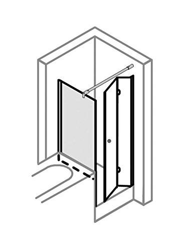 Duschkabine auf Maß, verkürzte Seitenwand auf Badewanne, Typ 5005206 & 5235, Drehfalttür, Alu Silber Matt