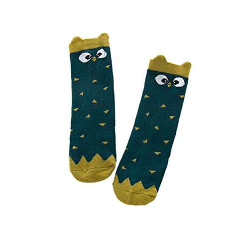 Baywell Unisex Jungen Mädchen Socken, Niedliche Cartoon Muster Spitze Bowknot Kniestrümpfe mit Punkt (Dunkelgrüne Eule, S/0-1 Jahre alt)