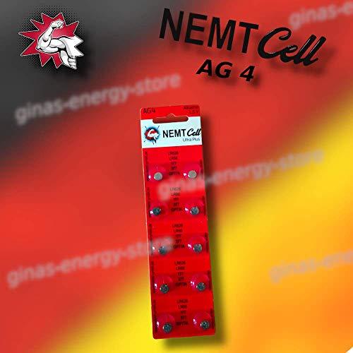 10 AG4 NEMT Cell Knopfzellen Knopfbatterien Uhrenbatterien LR626, LR66, 177, 377 1,5V…