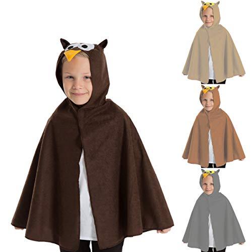 Charlie Crow Eule umhang Kostüm für Kinder - Einheitsgröße 3-8 Jahre. Dunkelbraun.