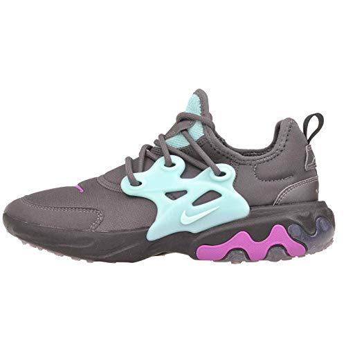 Nike Girls React Presto Running Sneakers (6, Thunder Grey/Aurora Green)