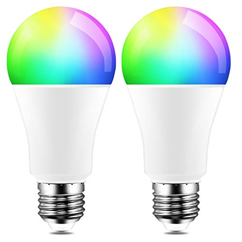 Color Changing LED Light Bulb 8W RGBW Controlled by APP, Sync to Music, Dimmable RGB Multi-Color 60 Watt Equivalent E26 Edison Screw (2 Pack)