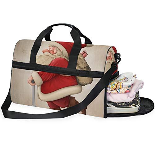 DEZIRO 45L Travel Duffel Tas Kerstman en De Push Scooter Grote Weekender Tas met Schoenen Compartiment