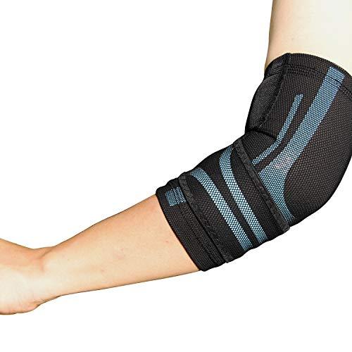 BODYVINE Unisex– Erwachsene Triple Verstellbare Ellbogen Kompressions Bandage mit Power-Band Compression Taping, Blau, L