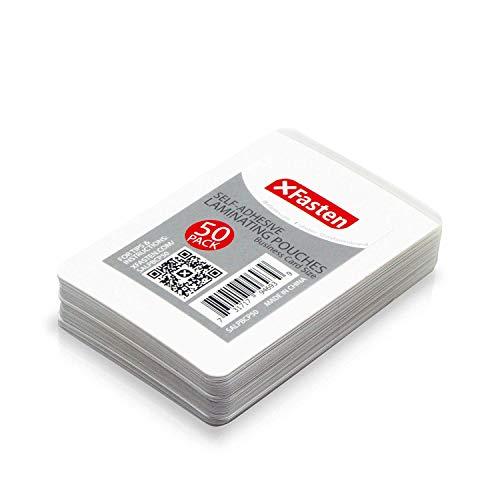 XFasten Funda Para Plastificar Tarjetas de Presentación Auto Sellantes, 9.5 Mil y Funda para Plastificar Tarjetas de Presentación Duras (Paquete de 50)