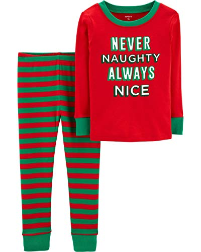 Carter's Toddler Boys Christmas Pajamas Snug Fit (24 Months) Red Green