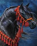 Xofjje Pintar por Numeros Adultos_Caballo Retrato de Animal Paisaje_DIY Pintura por números con_Pinceles y Pinturas Decoraciones para el Hogar_40x50cm_Sin Marco