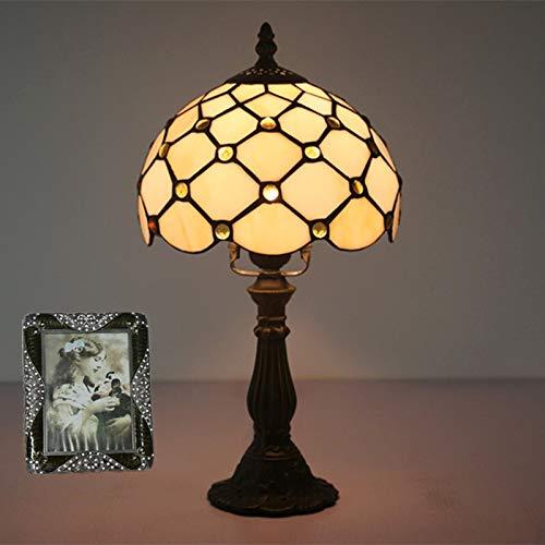 feichang Tiffany Lámpara de mesita de noche para dormitorio, barra retro, lámpara de cristal amarillo, base de resina, lámpara de mesa de maquillaje, lámpara de mesa lateral (color: A)