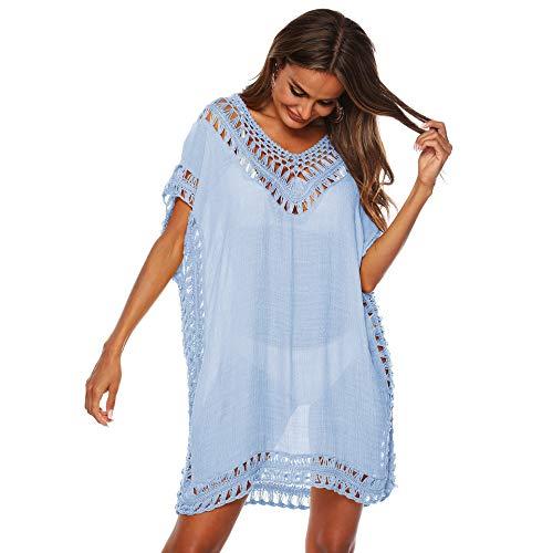Uniquestyle Tunique de Plage Femme Robe de Plage Cache Maillot de Bain Crochet Femme Cover Up Plage Maillot de Bain Bikini Paréo Tunique Bleu