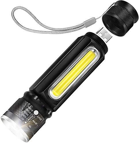 FANPING Mini Lampe de Poche LED magnétique avec Chargement USB, Zoom Strong Light en Aluminium léger imperméable à l'eau, Convient for Camping en Plein air