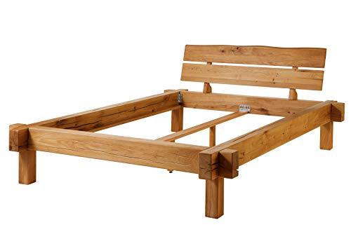 MASSIVMOEBEL24.DE Balkenbett JANGALI, Bett 140x200x85 aus Wildeiche massiv in Natur geölt, Bettgestell mit Balken aus Massivholz