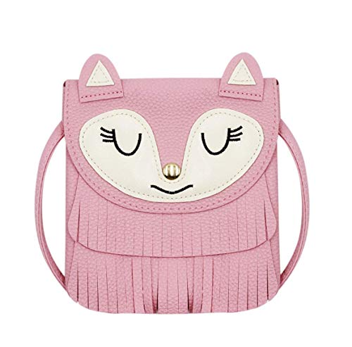 ZGMYC Fox Tassel Shoulder Bag Small Coin Purse Crossbody Satchel for Kids Girls, Large Pink (5.9 x 5.9in)