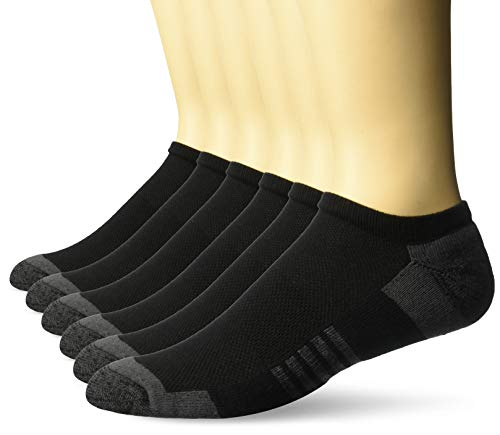 Amazon Essentials Men's 6-Pack Performance Cotton Cushioned Athletic No-Show Socks, Black, Shoe Size: 6-12
